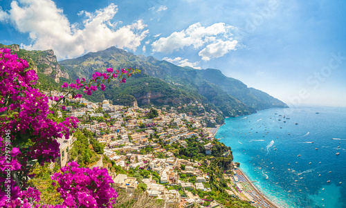 Wall mural Landscape with Positano town at famous amalfi coast, Italy