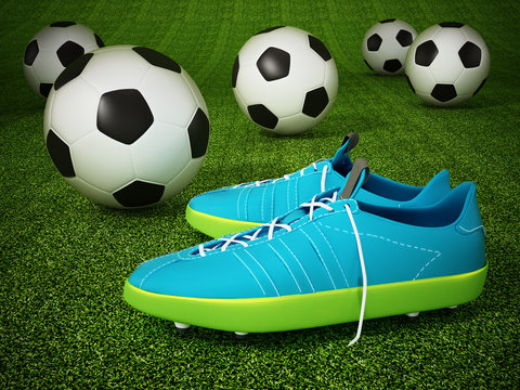 Soccer cleats and soccer balls on the pitch. 3D illustration
