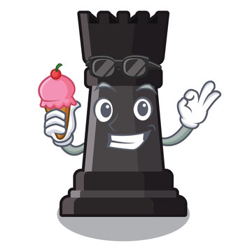 With ice cream rook chess isolated in the mascot