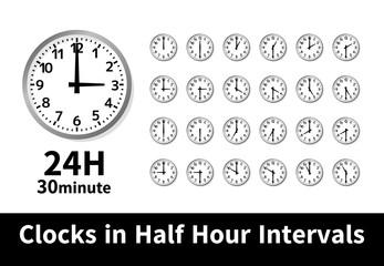 シンプル 時計 24時間 30分刻み 30分毎 黒 影のある フレーム