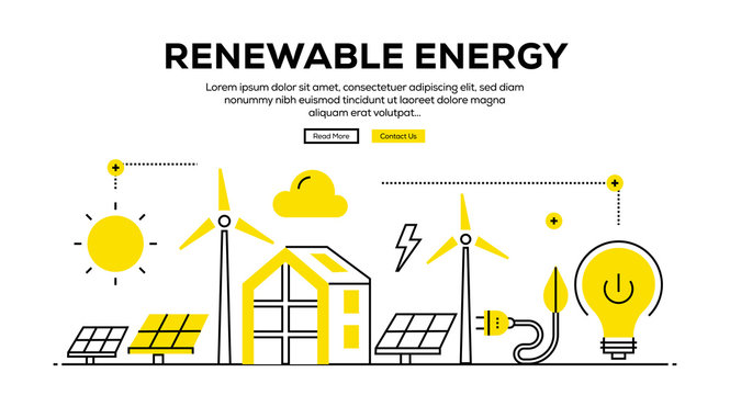 RENEWABLE ENERGY FLAT LINE WEB BANNER DESIGN