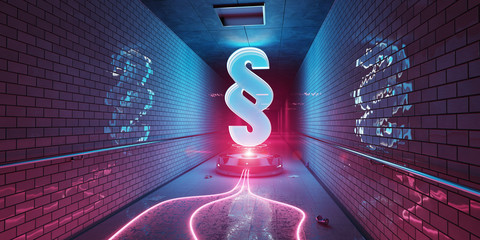 Law paragraph digital hologram in underground 3D rendering