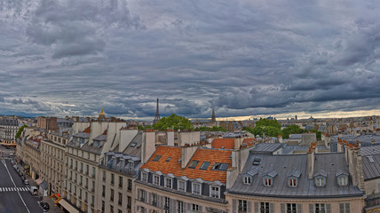 Fototapete - Superb Panorama of Paris center and roofs under an amazing sky