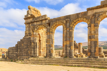 Arches at the ruins of Volubilis, ancient Roman city in Morocco. Wall mural