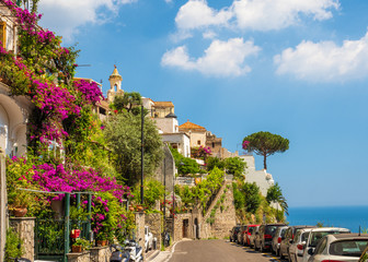 Wall Mural - Landscape with Positano town at famous amalfi coast, Italy
