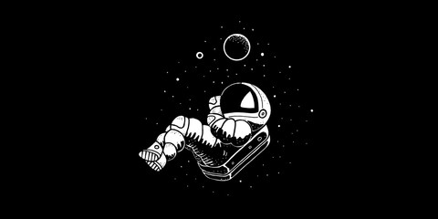 Astronaut flying in cosmos vector illustration. Funny spaceman hand drawn