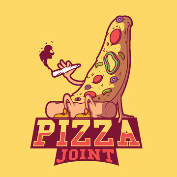Pizza Joint vector illustration. Logo, brand, joint, dinner, marijuana design concept