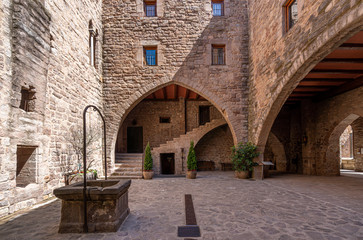 View of the Courtyard in the medieval castle of Cardona. The most important medieval fortress in Catalonia and one of the most important in Spain Wall mural