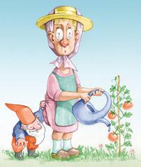 mischievous gnome humorous illustration