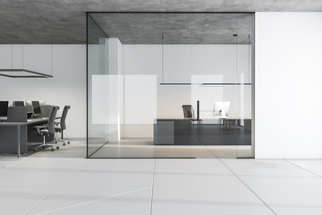 White manager and open space office