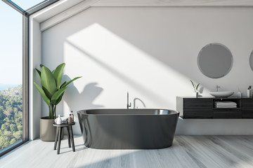 Scandinavian bathroom interior, tub and sink