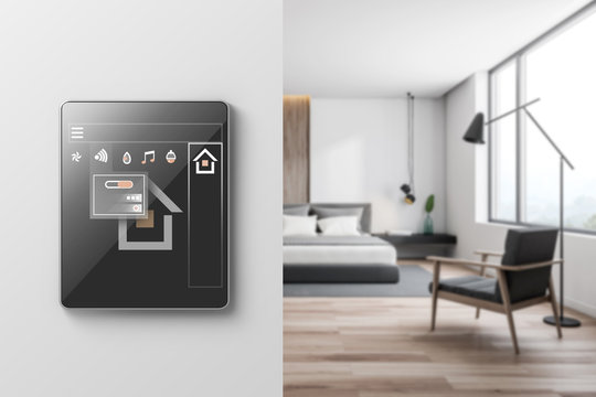 Smart home icons in bedroom