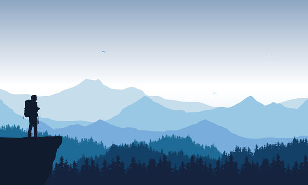 realistic illustration of mountain landscape with coniferous forest under blue sky with flying birds. Lonely hiker standing on top and looking into valley, vector