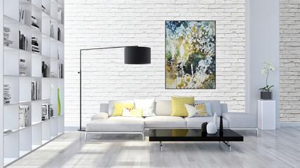 large luxury modern bright interiors room illustration 3D rendering Fototapete