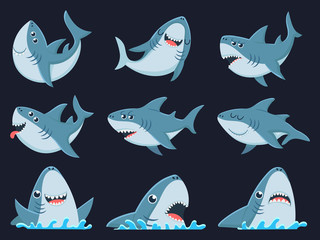 Ocean shark mascot. Scary sharks animals, smiling jaws and swimming shark. Underwater marine monster, big sea shark creatures character. Cartoon vector illustration isolated icons set