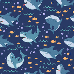 Cartoon sharks pattern. Seamless ocean swim, marine shark and sea underwater. Predator mascot wallpaper, scary aquatic monster fish wrapping vector background pattern
