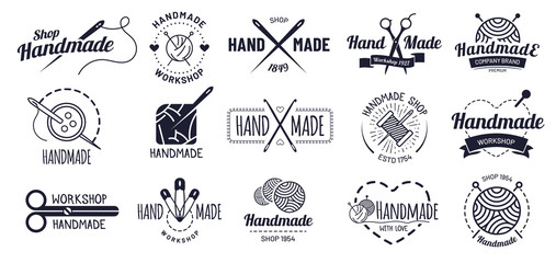 Handmade badges. Hipster craft badge, vintage workshop labels and handcraft logo. Logotype workshop, hand made craft insignia tag or authentic ink sticker. Isolated icons vector illustration set