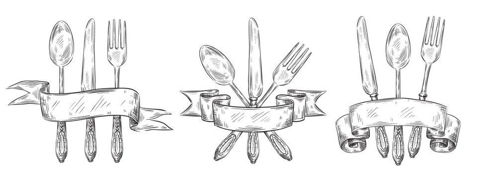 Cutlery with ribbon. Vintage table setting engraving, hand drawn fork, knife and food spoon sketch. Silverware restaurant eat teaspoon ink logo doodle. Vector isolated icons illustration set