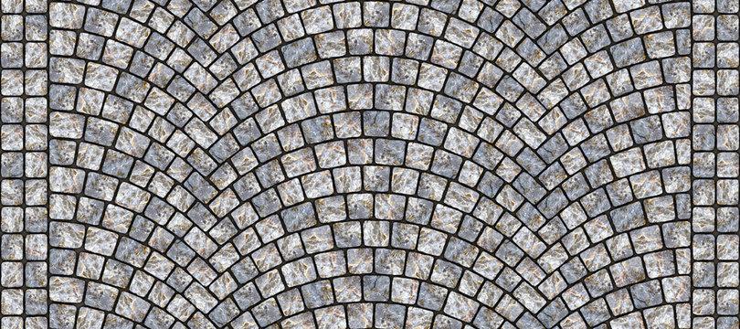 Road curved cobblestone texture 098