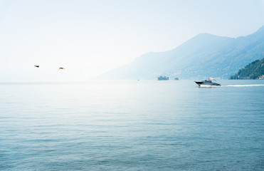 Photo sur Aluminium Landscape of lake Maggiore on a hot foggy day