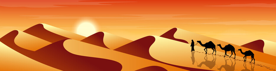 Man leads a camels through the desert. Exotic  landscape. Sands and dunes. Tourism and travelling. Vector flat design