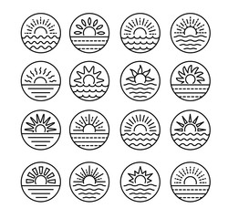 Sunrise over sea. Sunset over ocean. Summer round labels, emblems with sun & waves. Set of line signs for travel & tourism. Black & white vector illustration