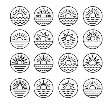 Sunrise over sea. Sunset over ocean. Summer round labels, emblems with sun & waves. Set of line signs for travel & tourism. Black & white vector illustration