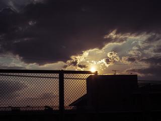 Fototapeta Sunset sky of Kumamoto in Japan