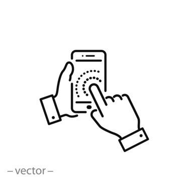 mobile app, hand touch smartphone icon, touchscreen, line symbols on white background - editable stroke vector illustration eps10