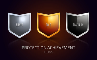 A set of Silver, Gold and Platinum shield. Protection achievement Icons design. Vector illustration