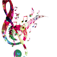 Music background with colorful G-clef and music notes vector illustration design. Artistic music festival poster, live concert events, party flyer, music notes signs and symbols
