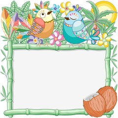 In de dag Draw Birds Cuties on Summer Bamboo Frame Vector Background Illustration