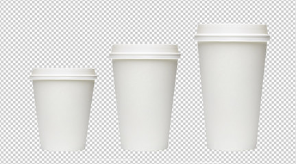 Three sizes blank take away coffee cups isolated on white bacground including clipping path