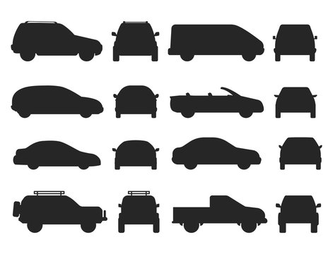 Car auto vehicle transport silhouette type design travel race model technology style and generic automobile contemporary kid toy flat vector illustration.