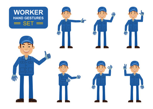 Set of auto mechanic characters showing different hand gestures. Cheerful worker showing thumb up gesture, this way, greeting, waving, pointing up, victory sign. Flat style vector illustration
