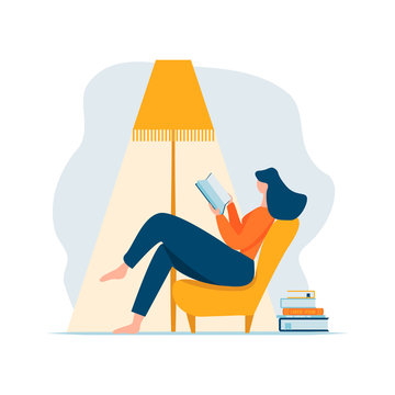 Young adult woman reading book relaxing sitting in chair under lamp and stack of books. Cartoon female character reclining on sofa and having rest at home