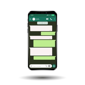 Mockup of phone with mobile messenger on screen, inspired by WhatsApp and other similar apps. Modern design.
