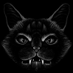 Keuken foto achterwand Hand getrokken schets van dieren The Vector logo Demon or Devil goat for tattoo or T-shirt design or outwear. Cute print style Demon cat or Devil goat background.