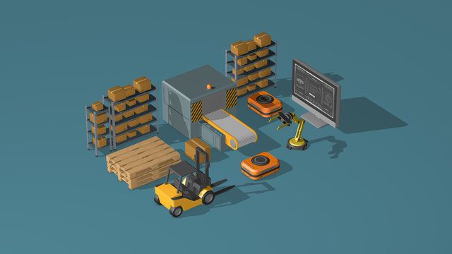 supply chain, logistics, automation, industry 4.0. concept animation, isometric view (3d render)