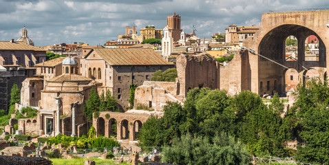 Fototapete - Roman Forum view, Rome, Italy. Forum is a famous tourist attraction of Rome. Landscape with ruins of the old Rome city. Scenic panorama of the remains of famous Ancient Empire in the Rome center.