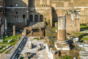 Fototapete - Forum of Augustus in summer, Rome, Italy. This forum is a landmark of Rome. Vintage view of the Ancient Roman ruins in the Rome center. Remains of architecture of the old Rome city.
