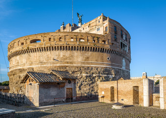 Fototapete - Inside the Castel Sant'Angelo, Rome, Italy. Mausoleum of Emperor Hadrian with medieval structures on its top. Sant'Angelo is a famous landmark of Rome. Ancient architecture of Rome in summer.
