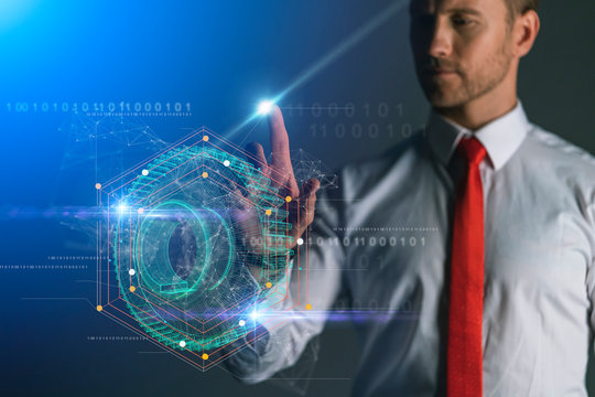 smart caucasian businessman hand point hologram of 3d gear with virtual reality business technology ideas concept