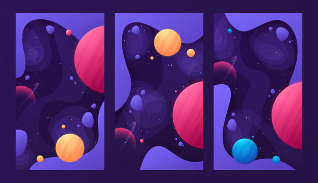 Set of colorful cover designs on the topic of outer space. Vector illustration