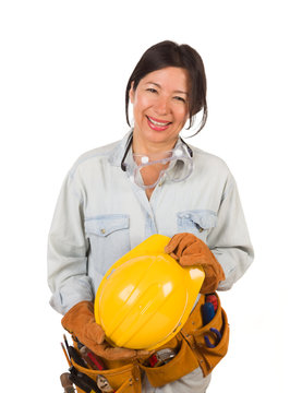 Hispanic Female Contractor Wearing Goggles, Hard Hat and Goggles Isolated on White Background