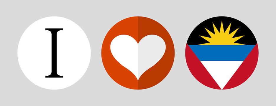 I love Antigua and Barbuda. Flag and heart icons