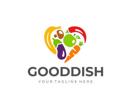 Vegetables and fruit heart logo design. Raw food vector design. Vegetarian food logotype