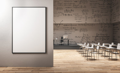 Modern classroom with billboard