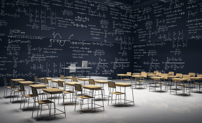 Fototapeta Dark classroom with math formulas obraz