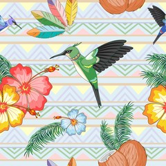 Hummingbirds Ethnic Dance with Hibiscuses Vector Seamless Pattern Textile Design